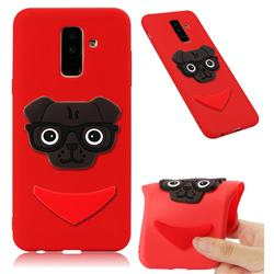 Glasses Dog Soft 3D Silicone Case for Samsung Galaxy A6 Plus (2018) - Red