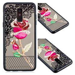 Rose Lace Diamond Flower Soft TPU Back Cover for Samsung Galaxy A6 Plus (2018)