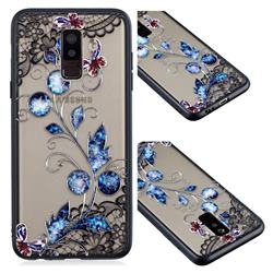 Butterfly Lace Diamond Flower Soft TPU Back Cover for Samsung Galaxy A6 Plus (2018)