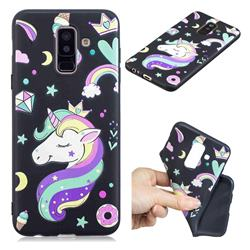 Candy Unicorn 3D Embossed Relief Black TPU Cell Phone Back Cover for Samsung Galaxy A6 Plus (2018)