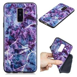 Marble 3D Embossed Relief Black TPU Cell Phone Back Cover for Samsung Galaxy A6 Plus (2018)