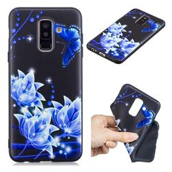 Blue Butterfly 3D Embossed Relief Black TPU Cell Phone Back Cover for Samsung Galaxy A6 Plus (2018)