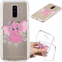 Tiny Pink Elephant Clear Varnish Soft Phone Back Cover for Samsung Galaxy A6+ (2018)