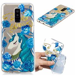 Blue Flower Unicorn Clear Varnish Soft Phone Back Cover for Samsung Galaxy A6+ (2018)