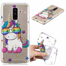 Glasses Unicorn Clear Varnish Soft Phone Back Cover for Samsung Galaxy A6 Plus (2018)