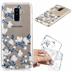 Magnolia Flower Clear Varnish Soft Phone Back Cover for Samsung Galaxy A6 Plus (2018)