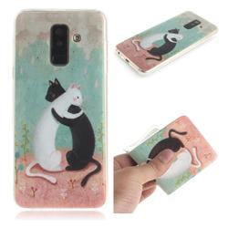 Black and White Cat IMD Soft TPU Cell Phone Back Cover for Samsung Galaxy A6 Plus (2018)