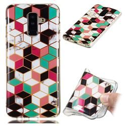 Three-dimensional Square Soft TPU Marble Pattern Phone Case for Samsung Galaxy A6 Plus (2018)