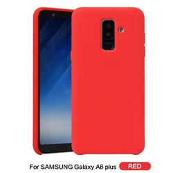 Howmak Slim Liquid Silicone Rubber Shockproof Phone Case Cover for Samsung Galaxy A6 Plus (2018) - Red