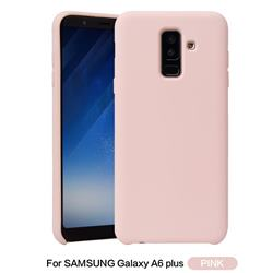 Howmak Slim Liquid Silicone Rubber Shockproof Phone Case Cover for Samsung Galaxy A6 Plus (2018) - Pink