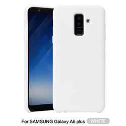 Howmak Slim Liquid Silicone Rubber Shockproof Phone Case Cover for Samsung Galaxy A6 Plus (2018) - White