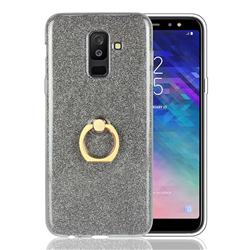 Luxury Soft TPU Glitter Back Ring Cover with 360 Rotate Finger Holder Buckle for Samsung Galaxy A6 Plus (2018) - Black