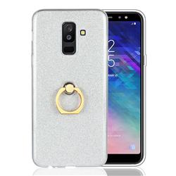 Luxury Soft TPU Glitter Back Ring Cover with 360 Rotate Finger Holder Buckle for Samsung Galaxy A6 Plus (2018) - White