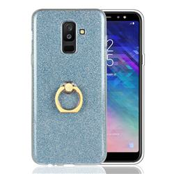 Luxury Soft TPU Glitter Back Ring Cover with 360 Rotate Finger Holder Buckle for Samsung Galaxy A6 Plus (2018) - Blue