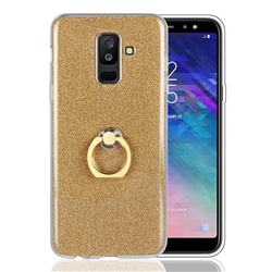 Luxury Soft TPU Glitter Back Ring Cover with 360 Rotate Finger Holder Buckle for Samsung Galaxy A6 Plus (2018) - Golden