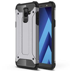 King Kong Armor Premium Shockproof Dual Layer Rugged Hard Cover for Samsung Galaxy A6 Plus (2018) - Silver Grey