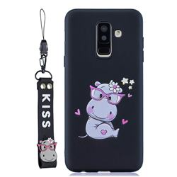 Black Flower Hippo Soft Kiss Candy Hand Strap Silicone Case for Samsung Galaxy A6 Plus (2018)