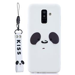 White Feather Panda Soft Kiss Candy Hand Strap Silicone Case for Samsung Galaxy A6 Plus (2018)