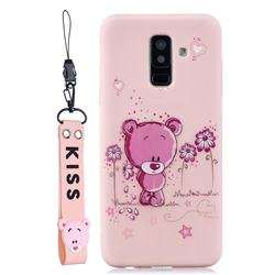 Pink Flower Bear Soft Kiss Candy Hand Strap Silicone Case for Samsung Galaxy A6 Plus (2018)