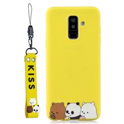 Yellow Bear Family Soft Kiss Candy Hand Strap Silicone Case for Samsung Galaxy A6 Plus (2018)