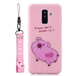 Pink Cute Pig Soft Kiss Candy Hand Strap Silicone Case for Samsung Galaxy A6 Plus (2018)