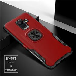 Knight Armor Anti Drop PC + Silicone Invisible Ring Holder Phone Cover for Samsung Galaxy A6 Plus (2018) - Red