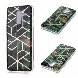 Green Rhombus Galvanized Rose Gold Marble Phone Back Cover for Samsung Galaxy A6 Plus (2018)