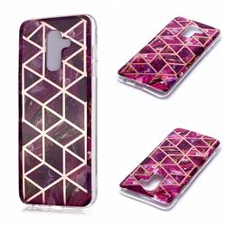 Purple Rhombus Galvanized Rose Gold Marble Phone Back Cover for Samsung Galaxy A6 Plus (2018)
