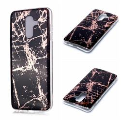 Black Galvanized Rose Gold Marble Phone Back Cover for Samsung Galaxy A6 Plus (2018)
