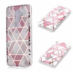 Pink Rhombus Galvanized Rose Gold Marble Phone Back Cover for Samsung Galaxy A6 Plus (2018)