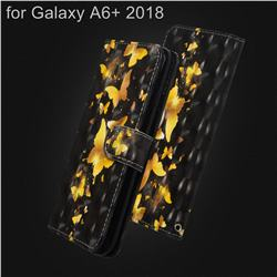Golden Butterfly 3D Painted Leather Wallet Case for Samsung Galaxy A6+ (2018)