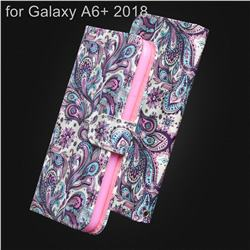 Swirl Flower 3D Painted Leather Wallet Case for Samsung Galaxy A6+ (2018)