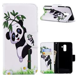 Bamboo Panda Leather Wallet Case for Samsung Galaxy A6+ (2018)