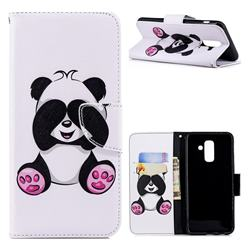 Lovely Panda Leather Wallet Case for Samsung Galaxy A6 Plus (2018)