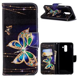Golden Shining Butterfly Leather Wallet Case for Samsung Galaxy A6+ (2018)