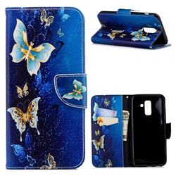 Golden Butterflies Leather Wallet Case for Samsung Galaxy A6 Plus (2018)
