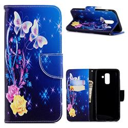 Yellow Flower Butterfly Leather Wallet Case for Samsung Galaxy A6+ (2018)