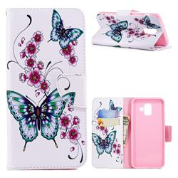 Peach Butterfly Leather Wallet Case for Samsung Galaxy A6+ (2018)