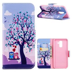 Tree and Owls Leather Wallet Case for Samsung Galaxy A6+ (2018)