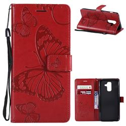 Embossing 3D Butterfly Leather Wallet Case for Samsung Galaxy A6 Plus (2018) - Red