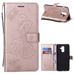Embossing 3D Butterfly Leather Wallet Case for Samsung Galaxy A6 Plus (2018) - Rose Gold