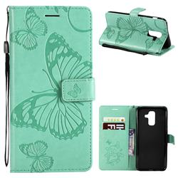 Embossing 3D Butterfly Leather Wallet Case for Samsung Galaxy A6 Plus (2018) - Green