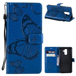 Embossing 3D Butterfly Leather Wallet Case for Samsung Galaxy A6 Plus (2018) - Blue