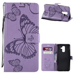 Embossing 3D Butterfly Leather Wallet Case for Samsung Galaxy A6 Plus (2018) - Purple