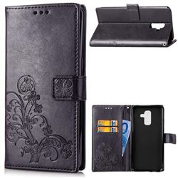 Embossing Imprint Four-Leaf Clover Leather Wallet Case for Samsung Galaxy A6 Plus (2018) - Black