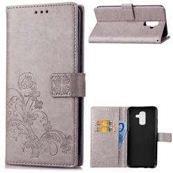 Embossing Imprint Four-Leaf Clover Leather Wallet Case for Samsung Galaxy A6 Plus (2018) - Grey