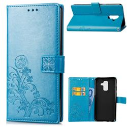 Embossing Imprint Four-Leaf Clover Leather Wallet Case for Samsung Galaxy A6 Plus (2018) - Blue