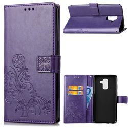 Embossing Imprint Four-Leaf Clover Leather Wallet Case for Samsung Galaxy A6 Plus (2018) - Purple