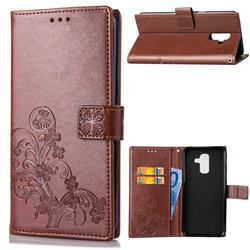 Embossing Imprint Four-Leaf Clover Leather Wallet Case for Samsung Galaxy A6 Plus (2018) - Brown