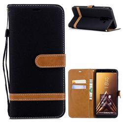 Jeans Cowboy Denim Leather Wallet Case for Samsung Galaxy A6 Plus (2018) - Black